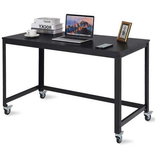 Mobile Steel Frame Laptop Computer Desk with Black Wood Top and Locking Casters - NorCal Cyber Sales