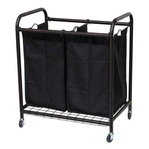 Bronze Laundry Hamper Cart with 2 Black Sorter Bags - NorCal Cyber Sales