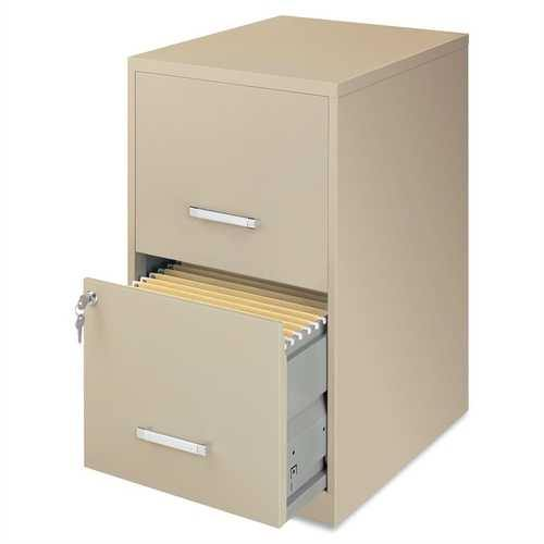 Metal Two Drawer Locking Vertical File Cabinet in Putty Color - NorCal Cyber Sales
