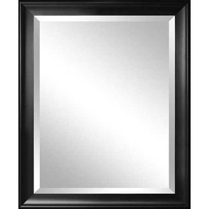 Beveled Glass Bathroom Wall Mirror with Black Frame - 34 x 28 inch - NorCal Cyber Sales