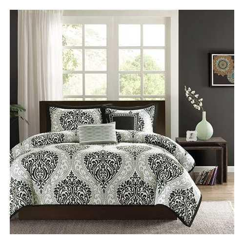 California King size 5-Piece Black White Damask Comforter Set - NorCal Cyber Sales