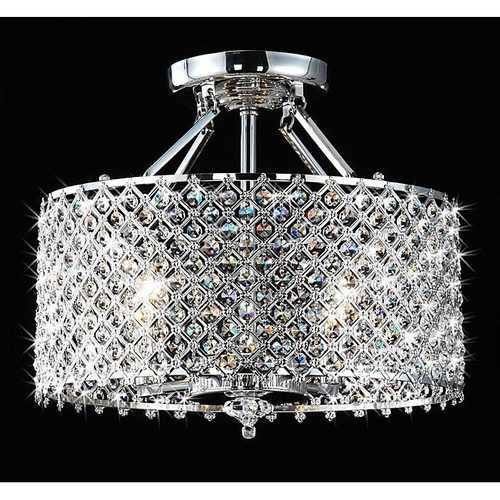 Chrome & Crystal 4 Light Round Ceiling Chandelier - NorCal Cyber Sales