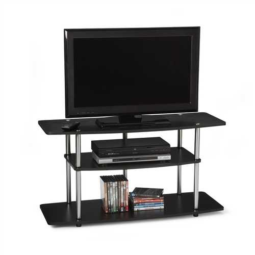 3-Tier Flat Screen TV Stand in Black Wood Grain / Stainless Steel - NorCal Cyber Sales