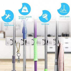 Wall-mounted Mop Holder Hanger with 5 Positions  - Color: White - NorCal Cyber Sales