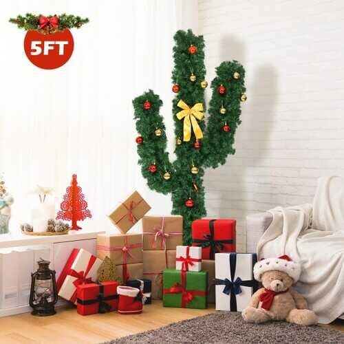 5' / 6' / 7' Artificial Cactus Christmas Tree with Lights-5' - Size: 5' - NorCal Cyber Sales