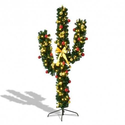 5' / 6' / 7' Artificial Cactus Christmas Tree with Lights-7' - Size: 7' - NorCal Cyber Sales