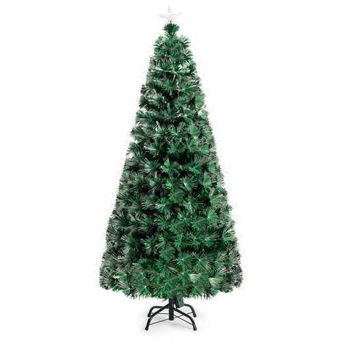 5' / 6' Pre-Lit Fiber Double-Color Lights Optic Christmas Tree-6' - Color: Green - Size: 6' - NorCal Cyber Sales