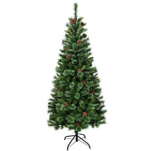 7 ft Premium Hinged Artificial Christmas Tree with Pine Cones - NorCal Cyber Sales