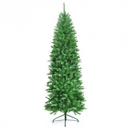 7 ft PVC Hinged Pre-lit Artificial Fir Pencil Christmas Tree with 150 Warm White UL-listed Lights-7' - Size: 7' - NorCal Cyber Sales