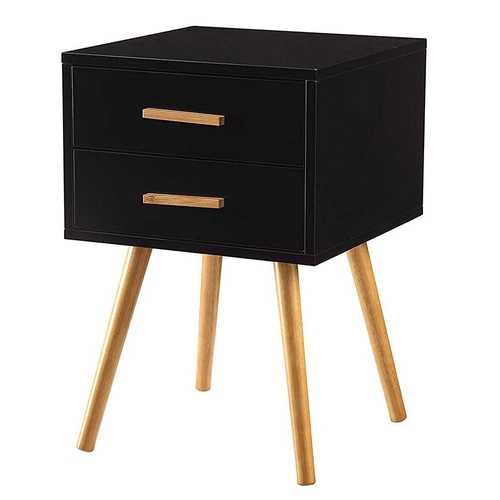 Modern Mid-Century Style End Table Nightstand in Black & Oak Wood Finish - NorCal Cyber Sales