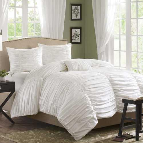 King size 4 Piece Comforter Set in Rouched White Cotton & Microsuede - NorCal Cyber Sales