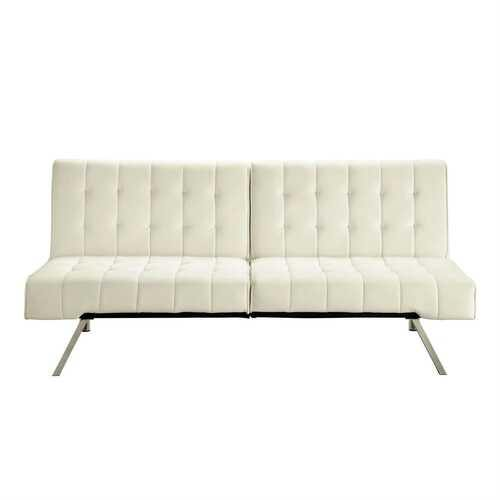 Split-back Modern Futon Style Sleeper Sofa Bed in Vanilla Faux Leather - NorCal Cyber Sales