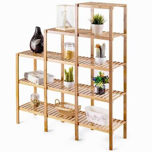 Bamboo Wood 5-Tier Versatile Bookcase Plant Stand Storage Rack - NorCal Cyber Sales