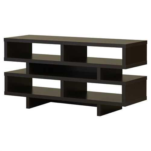 Modern TV Stand Entertainment Center in Dark Brown Cappuccino Wood Finish - NorCal Cyber Sales