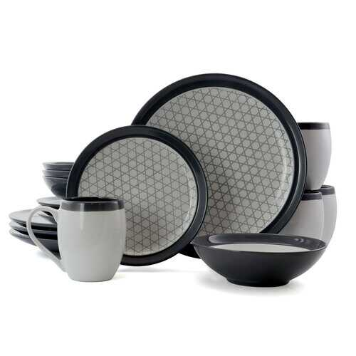 Elama FineLines 16 Piece Luxurious Stoneware Dinnerware with Complete Setting for 4, 16pc - NorCal Cyber Sales
