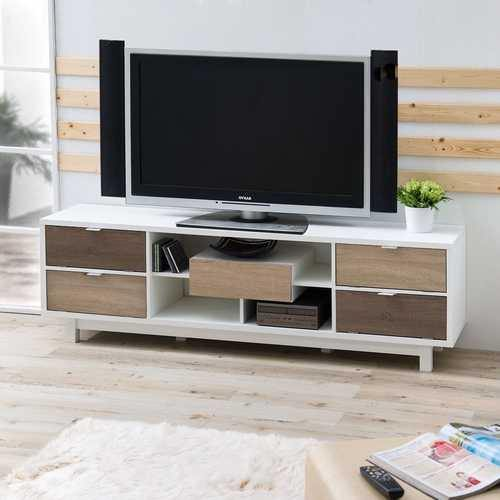 Modern 70-inch White TV Stand Entertainment Center with Natural Wood Accents - NorCal Cyber Sales
