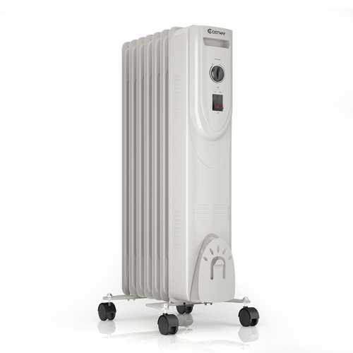 1500 W 7-Fin Portable Electric Oil Filled Radiator Heater with Adjustable Thermostat - NorCal Cyber Sales