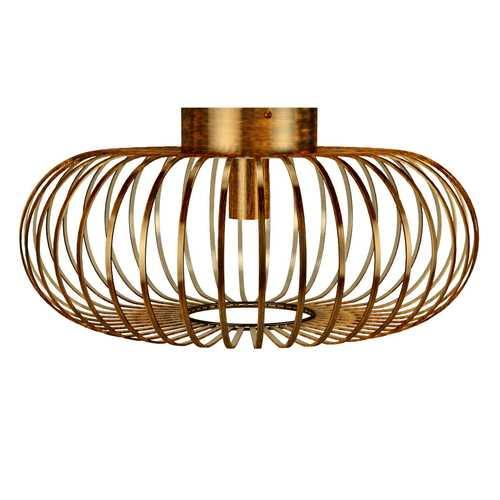 Antique Brass Metal Flush Mount Ceiling Pendant Light - NorCal Cyber Sales
