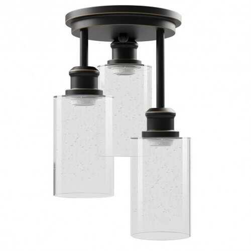 3-Light Semi Flush Mount Ceiling with Black Finish - Color: Black - NorCal Cyber Sales