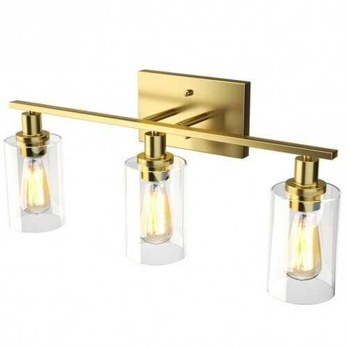 3-Light Modern Bathroom Wall Sconce with Clear Glass Shade-Golden - Color: Golden - NorCal Cyber Sales