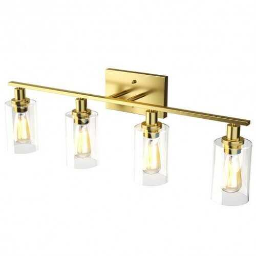 4-Light Wall Sconce with Clear Glass Shade-Golden - Color: Golden - NorCal Cyber Sales
