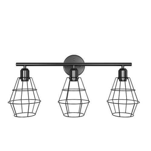 3-Light Industrial Bathroom Vanity Cage Light Vintage Wall Lamp - Color: Black - NorCal Cyber Sales