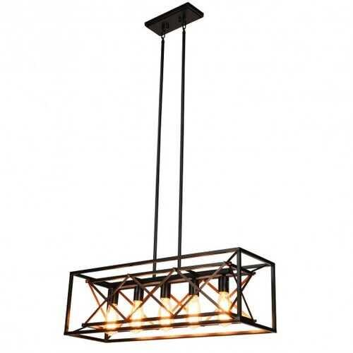 5-Light Kitchen Island Pendant Light Wood Metal Chandelier - NorCal Cyber Sales