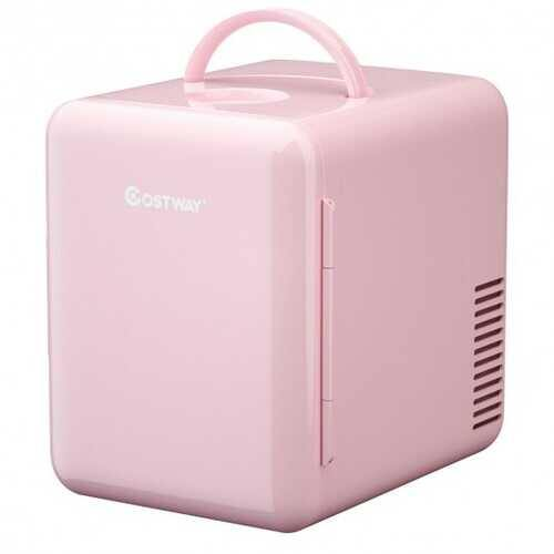 4 Liter Portable Mini Cooler Warmer Fridge with Ergonomic Handle AC/DC Powered-Pink - Color: Pink - NorCal Cyber Sales