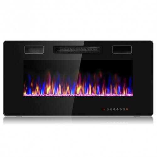 "36"" Recessed Ultra Thin Wall Mounted Electric Fireplace with 12 Flame Colors - NorCal Cyber Sales"