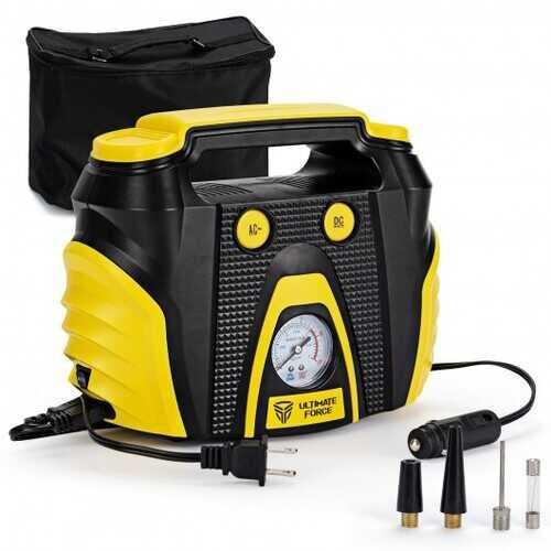 Portable Air Compressor Tire Inflator AC/DC Electric Pump with 3 Nozzle Adaptors - NorCal Cyber Sales