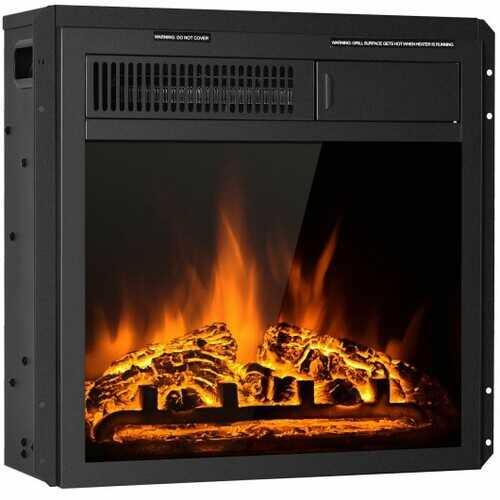 "18"" Electric Fireplace Insert Freestanding and Recessed Heater Log Flame Remote - NorCal Cyber Sales"