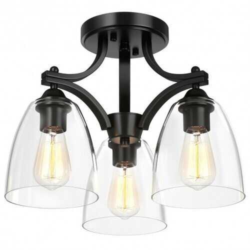 3-Light Semi Flush Mount Ceiling Light with Vintage Clear Glass Pendant - NorCal Cyber Sales