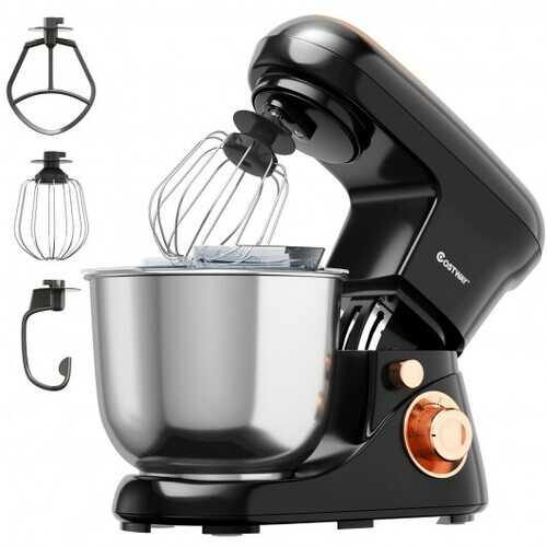 5.3 Qt Stand Kitchen Food Mixer 6 Speed with Dough Hook Beater-Black - Color: Black - NorCal Cyber Sales