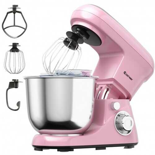 5.3 Qt Stand Kitchen Food Mixer 6 Speed with Dough Hook Beater-Pink - Color: Pink