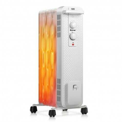 1500 W Oil-Filled Heater Portable Radiator Space Heater with Adjustable Thermostat-White - Color: White - NorCal Cyber Sales