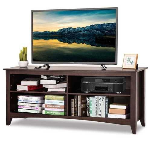 Contemporary TV Stand for up to 60-inch TV in Espresso Finish - NorCal Cyber Sales