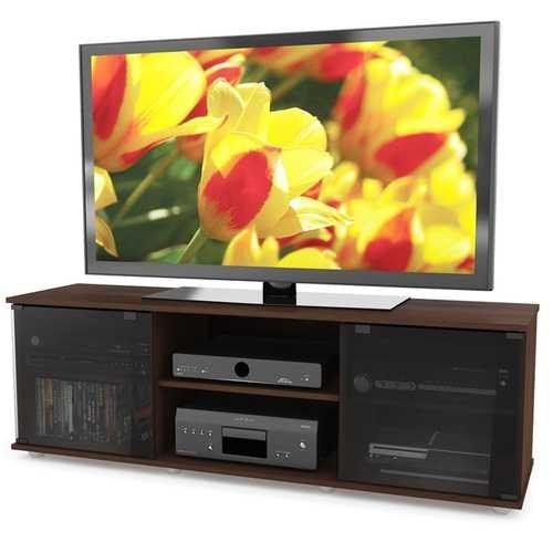 Contemporary Brown TV Stand with Glass Doors - Fits TV's up to 64-inch - NorCal Cyber Sales