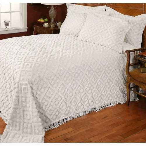 Full size Beige Chenille Cotton Bedspread with Fringe Edges - NorCal Cyber Sales