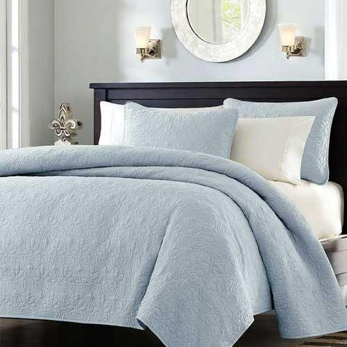 Full / Queen size Quilted Bedspread Coverlet with 2 Shams in Light Blue - NorCal Cyber Sales