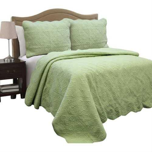 Full Queen Green Cotton Quilt Bedspread with Scalloped Borders - NorCal Cyber Sales