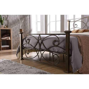 Full size Gold Metal Platform Bed Frame with Headboard and Footboard - NorCal Cyber Sales