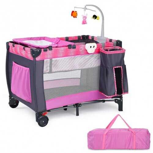 Foldable Travel Baby Crib Playpen Infant Bassinet Bed w/ Carry Bag-Pink - Color: Pink