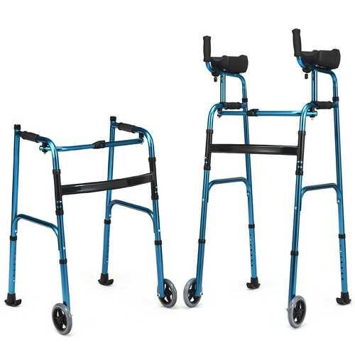 Folding Adjustable Aluminum Wheel Walking Frame-Navy - Color: Navy