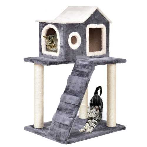 Gray 36 Inch Tower Condo Scratching Post Ladder Cat Tree House - NorCal Cyber Sales