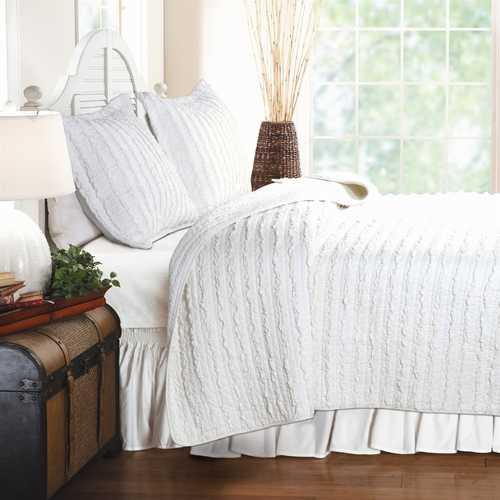 King size 3-Piece Quilt Set with 2 Pillow Shams 100% Cotton White Ruffles - NorCal Cyber Sales