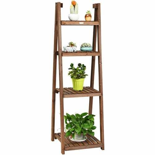 Folding Flower Stand Rack Wood Plant Storage Display Shelf - NorCal Cyber Sales