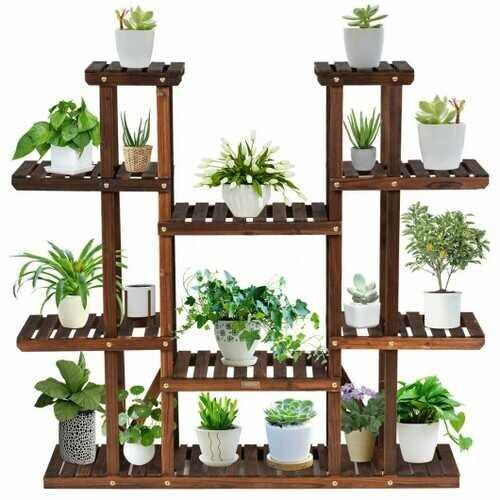 6 Tier Wood Plant Stand Flower Shelf Rack Holder - NorCal Cyber Sales