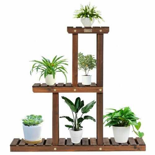 Wood Plant Stand 3-Tier Plant Pot Holder - NorCal Cyber Sales