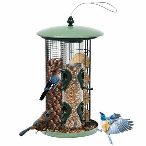 3 in 1 Metal Hanging Wild Bird Feeder Outdoor with 4 Feeding Ports and Perches - NorCal Cyber Sales
