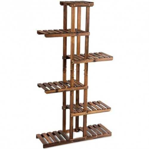 6 Tier Garden Wooden Shelf Storage Plant Rack Stand - NorCal Cyber Sales